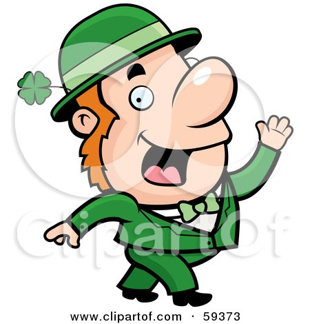 Royalty-Free (RF) Clipart Illustration of a Friendly Irish Man Waving And Dressed In Green by Cory Thoman