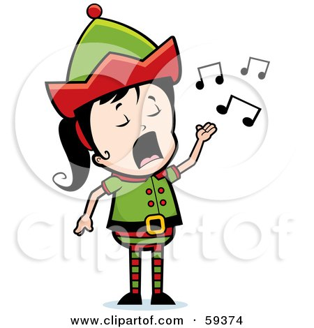Royalty-Free (RF) Clipart Illustration of a Female Christmas Elf Singing by Cory Thoman