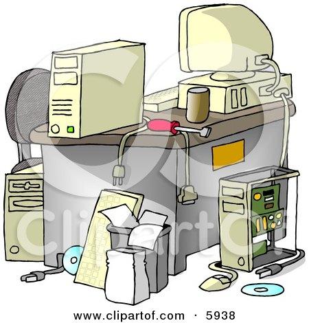 Messy Computer Desk Posters, Art Prints