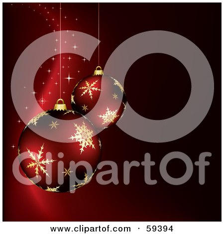 Royalty-Free (RF) Clipart Illustration of Two Christmas Ornaments With Gold Snowflake Designs, Suspended Over A Red Magic Background by TA Images