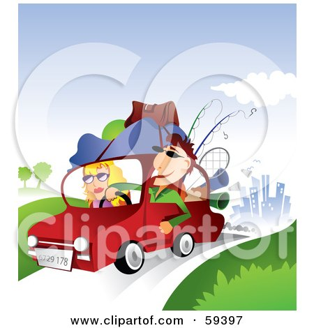 Royalty-Free (RF) Clipart Illustration of a Young Couple With Camping Gear On Top Of Their Car, Taking A Summer Vacation Away From The City by TA Images