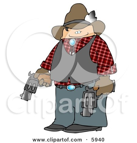 Smiling Cowboy Holding Two Loaded Guns Clipart Picture