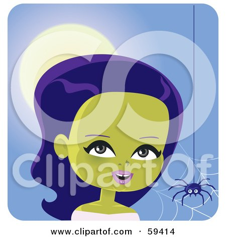 Royalty-Free (RF) Clipart Illustration of a Pretty Green Skinned Female Monster Near A Spider Web by Monica