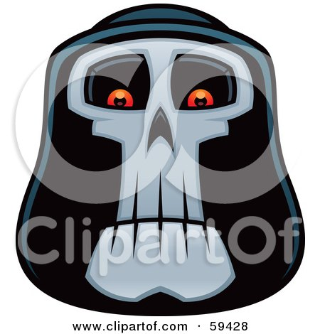Royalty-Free (RF) Clipart Illustration of a Grim Reaper Face With Glowing Eyes by John Schwegel