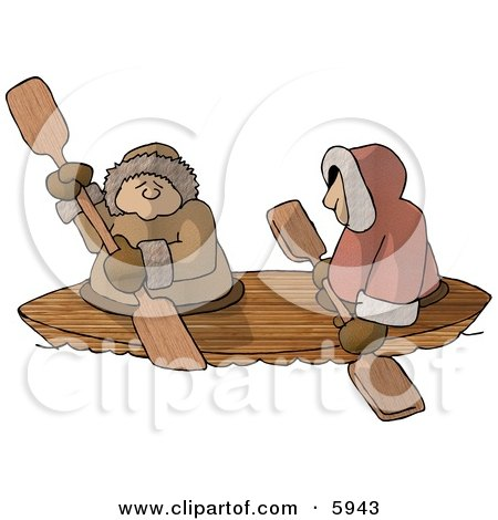 Alaskan Eskimos Canoing Down a River Clipart Picture by djart