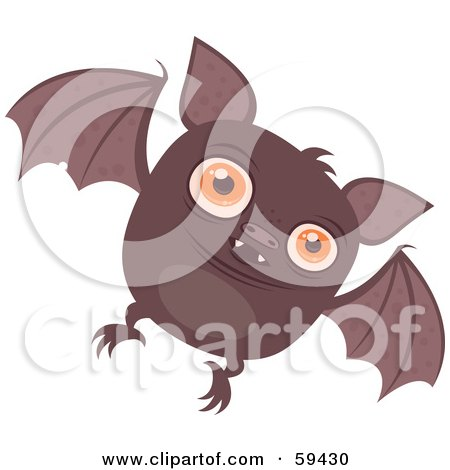 Royalty-Free (RF) Clipart Illustration of a Chubby Brown Vampire Bat Flying Forward by John Schwegel