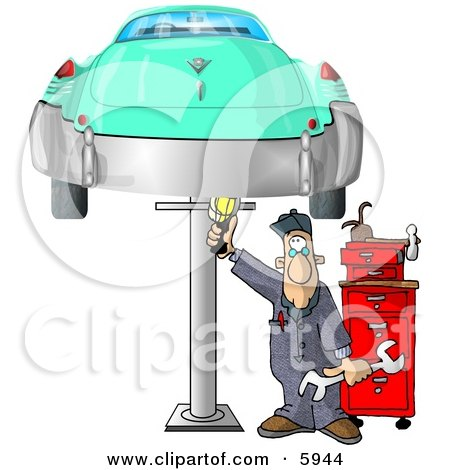 Mechanic Working On an Old Classic Car Clipart Picture by djart