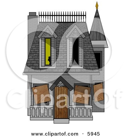Boarded-up Haunted House Clipart Picture by djart