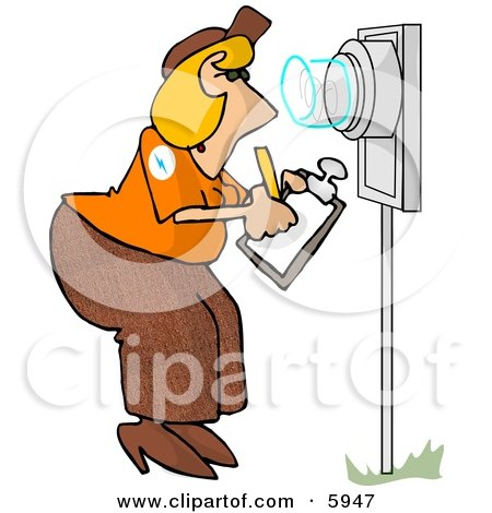 Electric Meter Reader Writing Down Electricity Usage Clipart Picture by djart