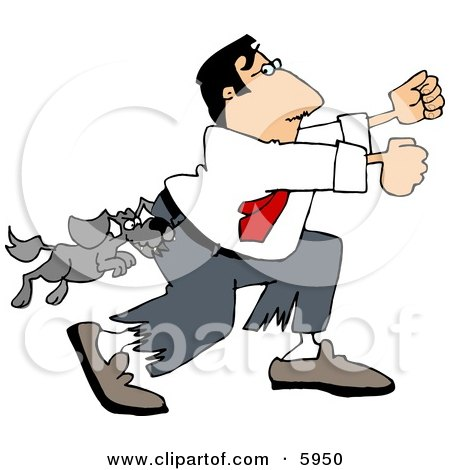 Vicious Dog Attacking a Man Running Away Clipart Picture by djart