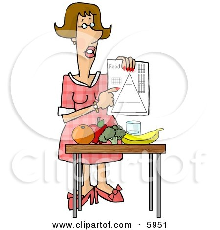 Female Dietitian Teaching the Public About Food and Nutrition Clipart Picture by djart