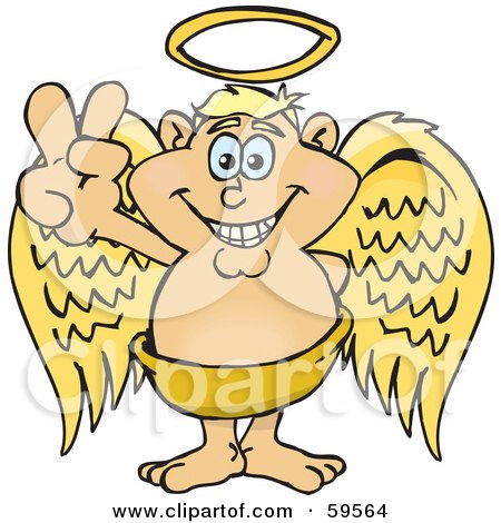 Royalty-Free (RF) Clipart Illustration of a Peaceful Blond Angel Gesturing The Peace Sign by Dennis Holmes Designs