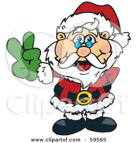 Royalty-Free (RF) Clipart Illustration of a Peaceful Santa Claus Gesturing The Peace Sign by Dennis Holmes Designs