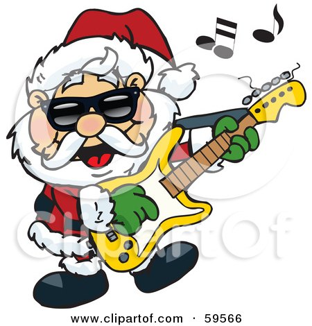 Royalty-Free (RF) Clipart Illustration of Santa Claus Wearing Shades, Rocking Out And Playing A Guitar by Dennis Holmes Designs