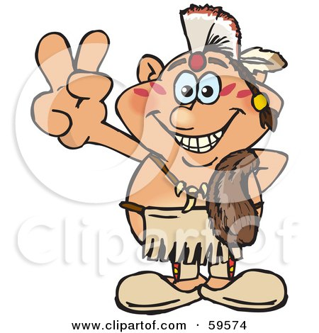 Royalty-Free (RF) Clipart Illustration of a Peaceful Native American Man Gesturing The Peace Sign by Dennis Holmes Designs