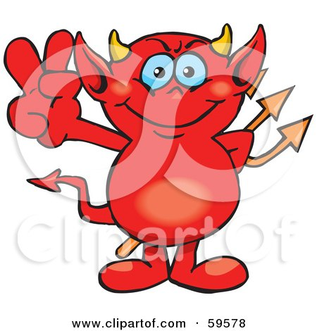 Royalty-Free (RF) Clipart Illustration of a Peaceful Red Devil Gesturing The Peace Sign by Dennis Holmes Designs