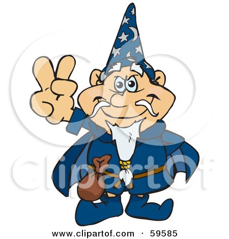Royalty-Free (RF) Clipart Illustration of a Peaceful Wizard Gesturing The Peace Sign by Dennis Holmes Designs