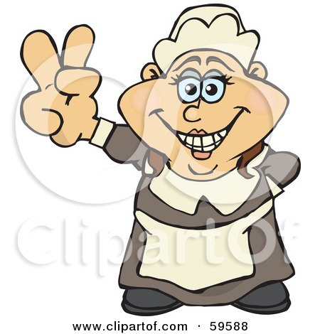 Royalty-Free (RF) Clipart Illustration of a Female Pilgrim Giving A Peace Hand Gesture by Dennis Holmes Designs