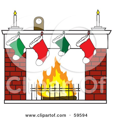 Clock And Candles Over Christmas Stockings On A Brick Fireplace Posters, Art Prints