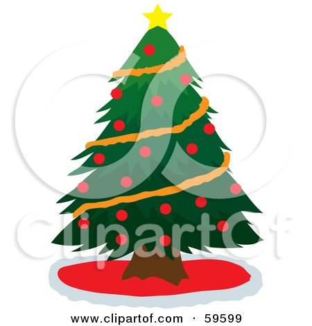 Royalty-Free (RF) Clipart Illustration of a Green Christmas Tree Adorned With Orange Garland, Red Baubles And A Star by Rosie Piter