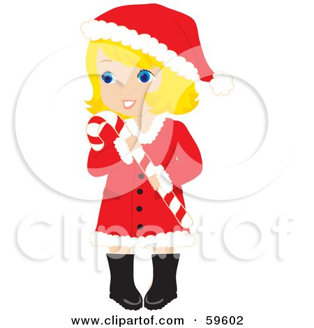 Royalty-Free (RF) Clipart Illustration of a Blond Christmas Girl In A Santa Suit, Carrying A Candy Cane by Rosie Piter