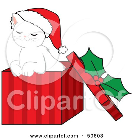 Royalty-Free (RF) Clipart Illustration of a Cute White Christmas Kitten Wearing A Santa Hat And Sitting In A Red Gift Box by Rosie Piter