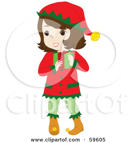 Royalty-Free (RF) Clipart Illustration of a Brunette Girl In A Christmas Elf Costume, Carrying A Gift by Rosie Piter