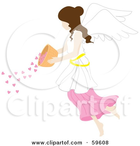 Royalty-Free (RF) Clipart Illustration of a Brunette Female Angel Pouring Hearts From A Bowl by Rosie Piter