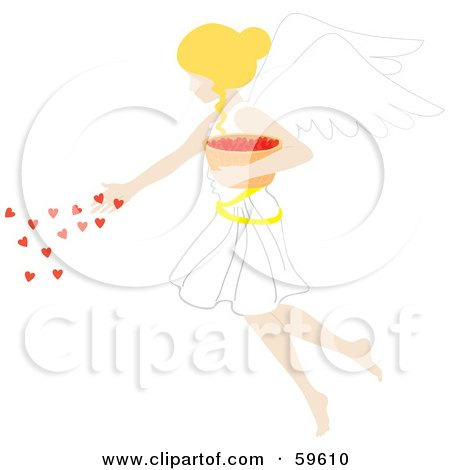 Royalty-Free (RF) Clipart Illustration of a Blond Female Angel Spreading Hearts From A Bowl by Rosie Piter