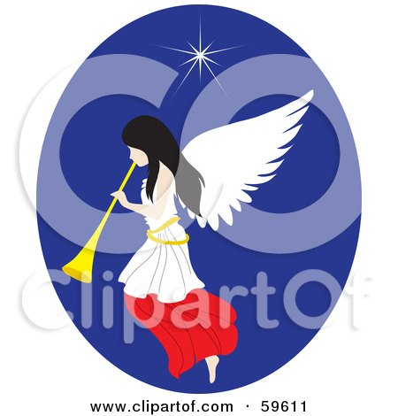 Royalty-Free (RF) Clipart Illustration of a Pretty Christmas Angel With A Horn, Under The North Star by Rosie Piter