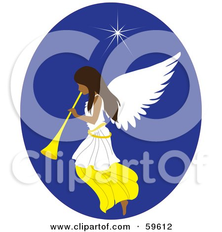 Royalty-Free (RF) Clipart Illustration of a Beautiful Christmas Angel With A Horn, Under The North Star by Rosie Piter