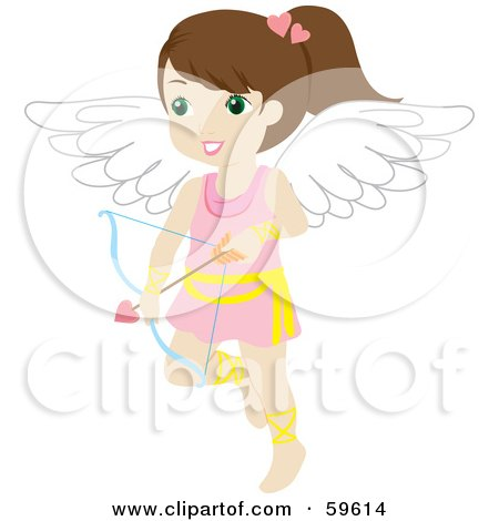 Royalty-Free (RF) Clipart Illustration of a Cute Brunette Female Cupid With A Bow And Arrow by Rosie Piter
