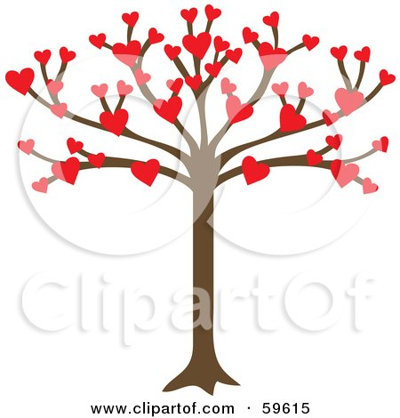Royalty-Free (RF) Clipart Illustration of a Tree Growing An Abundance Of Red Hearts by Rosie Piter