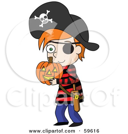 Royalty-Free (RF) Clipart Illustration of a Little Red Haired Boy Dressed A Pirate And Carrying A Halloween Pumpkin by Rosie Piter