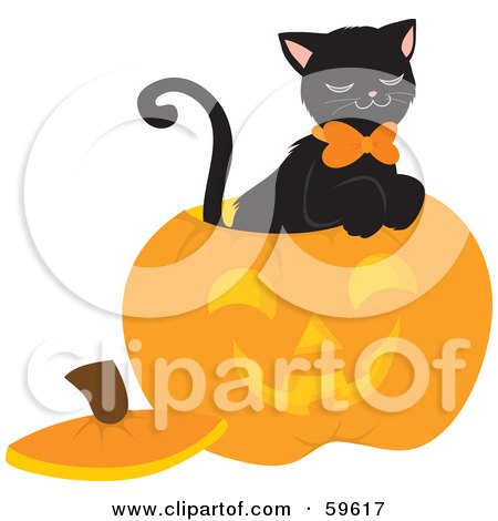 Royalty-Free (RF) Clipart Illustration of a Black Cat Sitting Inside A Carved Halloween Pumpkin by Rosie Piter