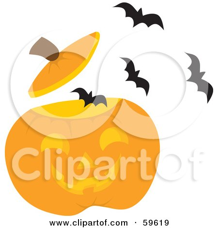 Royalty-Free (RF) Clipart Illustration of a Swarm Of Bats Flying Out Of A Carved Halloween Pumpkin by Rosie Piter