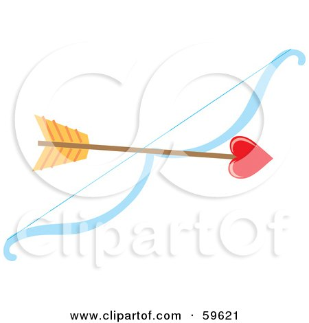 Royalty-Free (RF) Clipart Illustration of a Heart Tipped Arrow Resting On A Bow by Rosie Piter