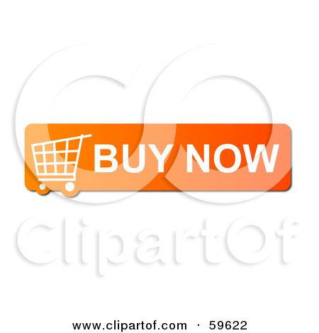 Royalty-Free (RF) Clipart Illustration of an Orange Buy Now Shopping Cart Button Icon On White by oboy