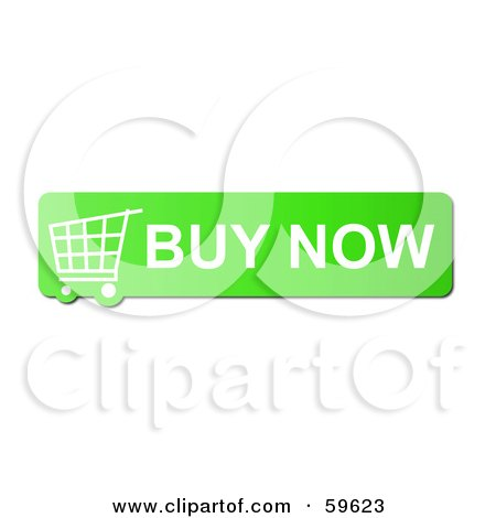 Royalty-Free (RF) Clipart Illustration of a Green Buy Now Shopping Cart Button Icon On White by oboy