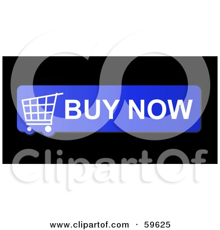 Royalty-Free (RF) Clipart Illustration of a Blue Buy Now Shopping Cart Button Icon On Black by oboy