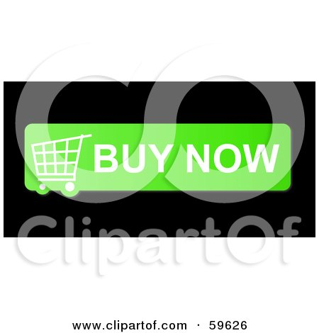 Royalty-Free (RF) Clipart Illustration of a Green Buy Now Shopping Cart Button Icon On Black by oboy