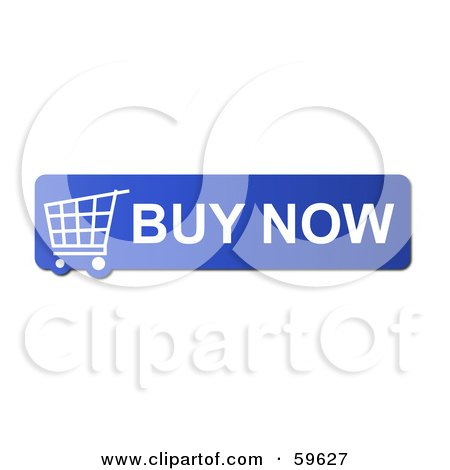 Royalty-Free (RF) Clipart Illustration of a Blue Buy Now Shopping Cart Button Icon On White by oboy