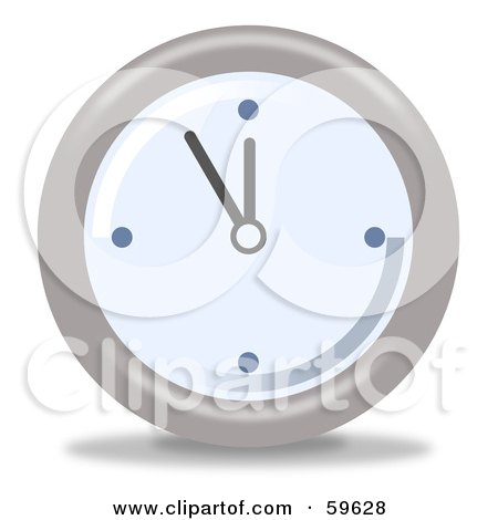 Royalty-Free (RF) Clipart Illustration of a Round Chrome And Blue Wall Clock - Version 5 by oboy
