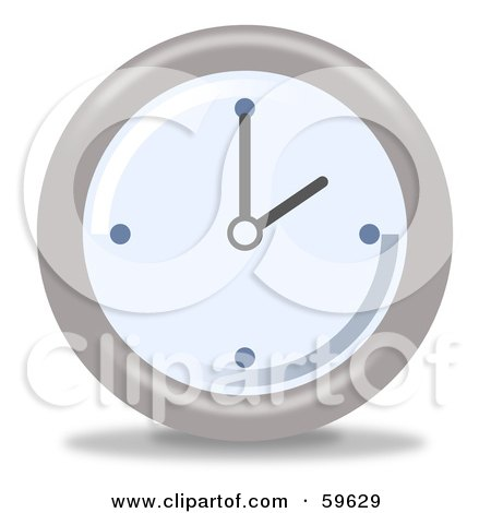 Royalty-Free (RF) Clipart Illustration of a Round Chrome And Blue Wall Clock - Version 2 by oboy