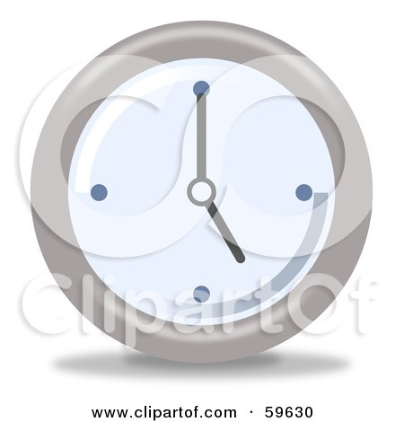 Royalty-Free (RF) Clipart Illustration of a Round Chrome And Blue Wall Clock - Version 6 by oboy
