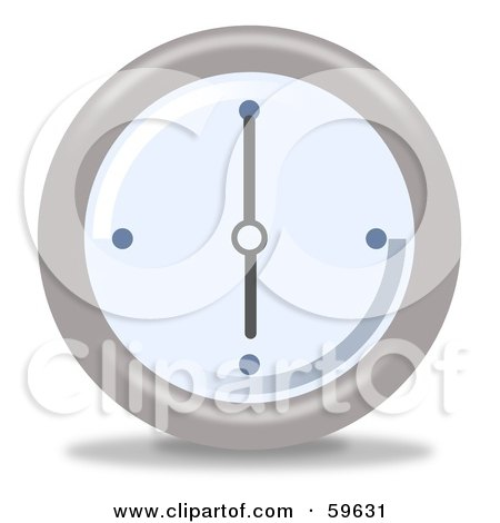 Royalty-Free (RF) Clipart Illustration of a Round Chrome And Blue Wall Clock - Version 7 by oboy