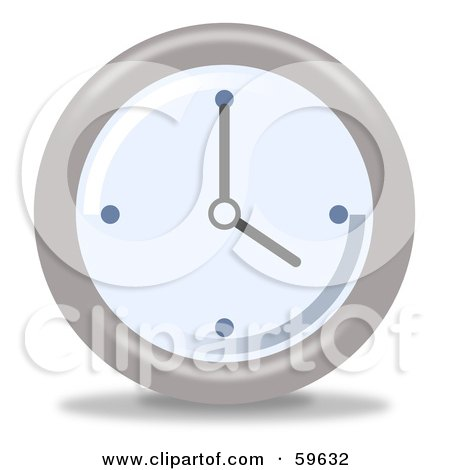 Royalty-Free (RF) Clipart Illustration of a Round Chrome And Blue Wall Clock - Version 4 by oboy