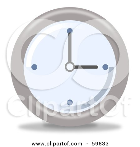 Royalty-Free (RF) Clipart Illustration of a Round Chrome And Blue Wall Clock - Version 3 by oboy