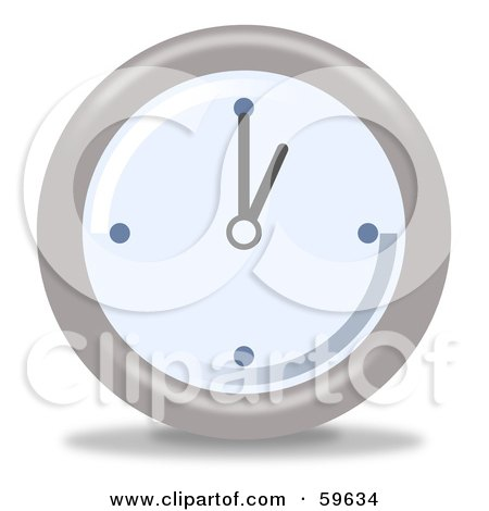 Royalty-Free (RF) Clipart Illustration of a Round Chrome And Blue Wall Clock - Version 1 by oboy