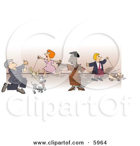 People Walking Their Dogs at a Dog Show Clipart Picture by djart